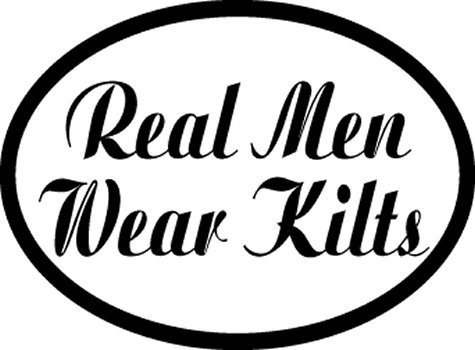 Real Men Wear Kilts decal for auto, truck or boat (Stock Kilt)