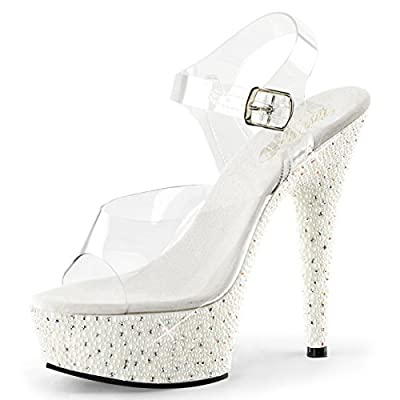 Womens White Wedding Shoes Platform Sandals Rhinestone Faux Pearls 6 Inch Heels