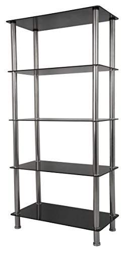 AVF S25-A Tall 5 Tier Shelving Unit in Black Glass & Chrome (Shelving For Glasses compare prices)
