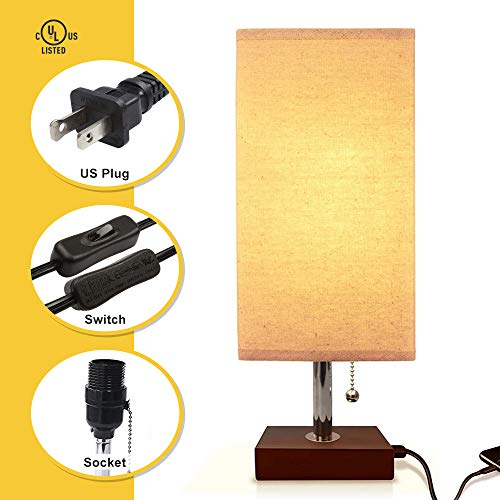Bedside Table Lamp USB, Aooshine Modern Desk Lamp, Solid Wood Nightstand Lamp with Unique Shade and Havana Brown Wooden Base, Ambient Light and Useful USB Charging Port Perfect for Bedroom or Office by Aooshine (Image #4)