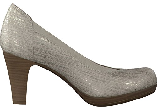Tamaris Womens Shoes 1-1-22418-28 Comfortable Women's Court Shoes, Pumps, Summer Shoes For Fashion-Conscious Women, SILVER STRUCT.