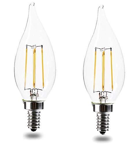 E12 led Bulbs 60 Watt Equivalent Candelabra Bulb led E12 CA11 Dimmable 2700K Warm White 4.5W 450LM CA11 Flame Tip LED Chandelier Light Bulbs UL Listed (2pack) ()