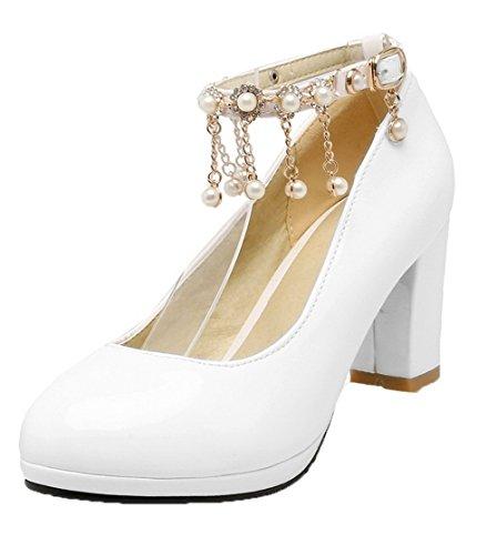 Talon Chaussures Haut Rond Cuir PU Femme Unie à Couleur VogueZone009 Tire Blanc Légeres vWYTFaqwT