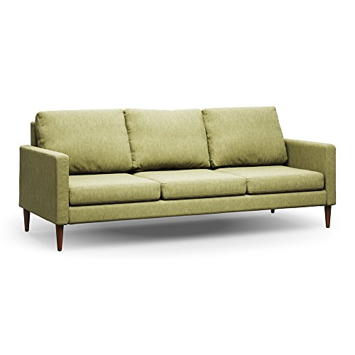 Campaign 86-Inch Steel Frame Brushed Weave Sofa, Sprouted Green with Mahogany Stained Solid Oak Legs