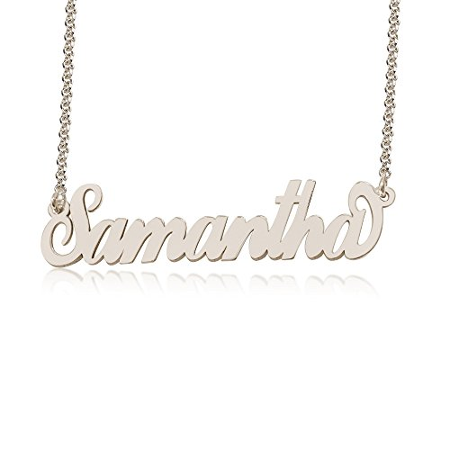 Personalized Samantha Name Necklace, Custom made in stock, Sterling Silver