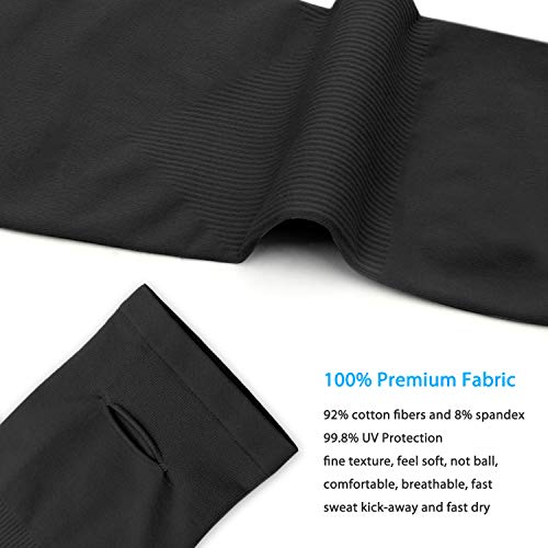 SHINYMOD UV Protection Cooling Arm Sleeves for Men Women Sunblock Cooler Protective Sports Running Golf Cycling Basketball Driving Fishing Long Arm Cover Sleeves (1 Pair Black) by SHINYMOD (Image #2)