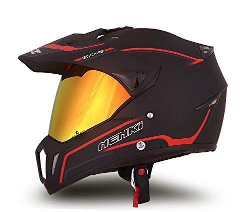 NENKI Dual Sport Helmet Full Face Motocross & Motorcycle Helmets Dot Approved Iridium Red Visor Attached Clear Visor NK-310 (XL, Matt Black & Red) by NENKI (Image #1)