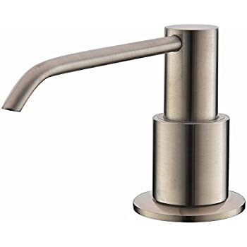 Comllen Commercial Brushed Nickel Stainless Steel Kitchen Sink Countertop  Soap Dispenser With 10.6 Ounce Capacity,