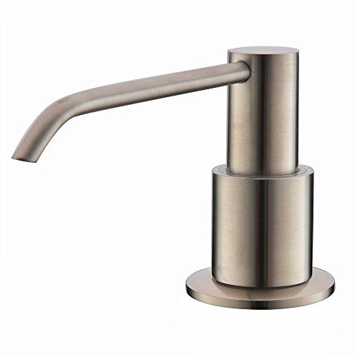 Comllen Commercial Brushed Nickel Stainless Steel Kitchen Sink Countertop Soap Dispenser With 10.6 Ounce Capacity, Brushed Nickel by Comllen