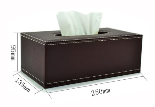 [Coffee Time] Leather Rectangle Random Carton Tissue Paper Holder Tissue Box