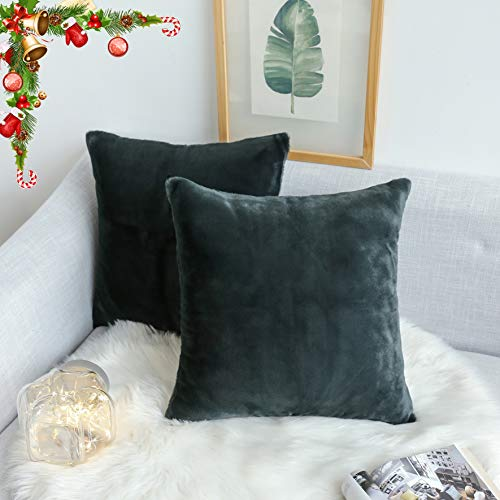 - Kevin Textile Durable Decorative Throw Pillow Case Cushion Cover Luxury Fluffy Crystal Mink Faux Rabbit Fur Pillowcase for Sofa, Set of 2, 18inch (45cm), Dark Olive Green
