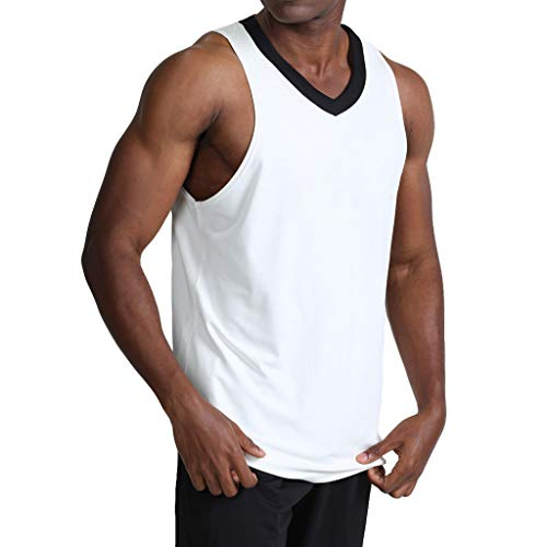 (iYYVV Mens Summer Casual V-Neck Patchwork Fitness Sweat Absorption Quick-Drying Vest White)