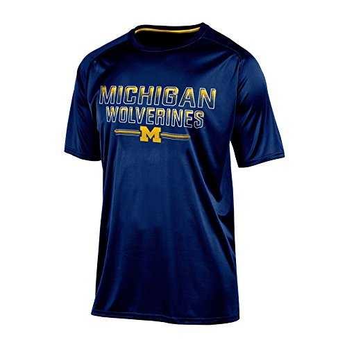 Michigan Wolverines Short Sleeve Shirt - NCAA Michigan Wolverines Men's Short sleeve Crew Neck RA Tee, X-Large, Navy