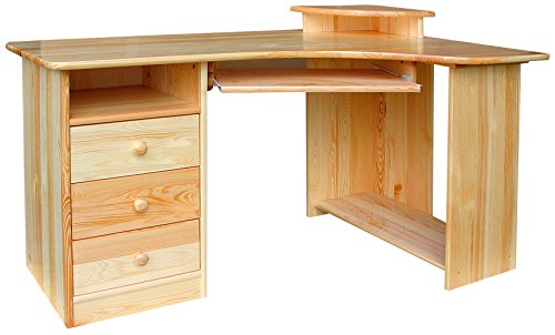 Escritorio 331 sólido, madera de pino natural - dimensiones 140 x ...