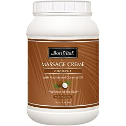 Bon Vital' Coconut Massage Crème Made with 100% Pure Fractionated Coconut Oil, Massage Cream & Moisturizer to Repair Dry Skin, No Greasy Feel, Anti-Aging Cream for Professional Massage, 1 Gallon Jar