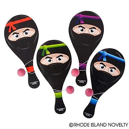 1 DZ (12) Awesome Ninja Paddleball Games ~ Fun Ninja Party Favors Giveaways Stocking Stuffers
