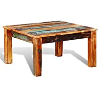 Festnight Antique-Style Square Coffee Table, 31 x 31 x 18, Reclaimed Wood