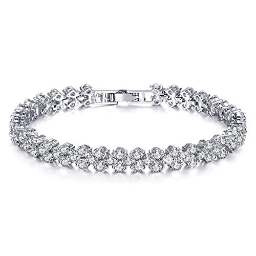 Shoopic Cubic Zircon Tennis Bracelet Crystal Hand Chain for Women 65quot