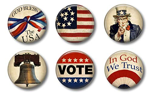 Patriotic Magnets for 4th of July, Independence or Memorial Day - Set of Six 1.75