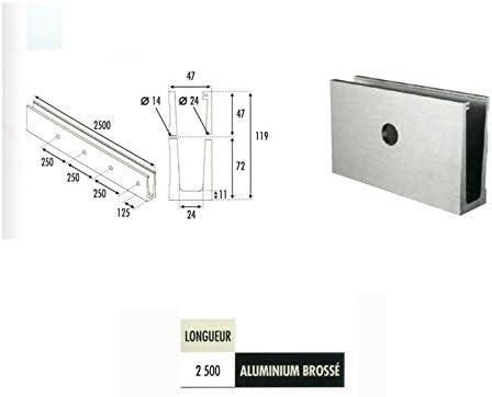 Profil aluminium pour garde corps fixation /à langlaise
