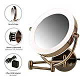 Ovente MLW45AB 9.5 inch LED Lighted Wall Mount Makeup Mirror, 1x/10x Magnification, Antique