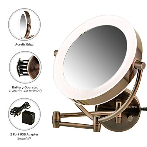 Ovente Wall Mount LED Lighted Makeup Mirror, 9.5 Inch, Battery or USB Adapter Operated, Dimmable, 1x/10x Magnification, Antique Brass (MLW45AB)