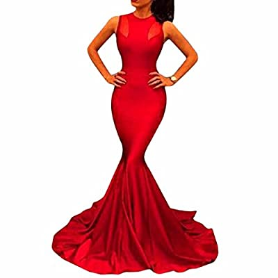 Sexy Woman Formal Fishtail Mermaid Long Party Evening Dress Bridal Prom Gown Red