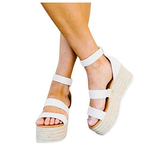 LAICIGO Womens Platform Espadrille Wedges Peep Toe High Heel Sandals with Ankle Strap Buckle -