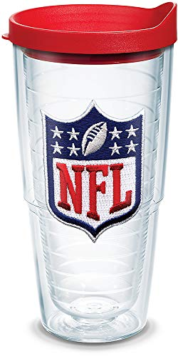 Tervis 1039106 NFL National Football League Logo Tumbler with Emblem and Red Lid 24oz, Clear