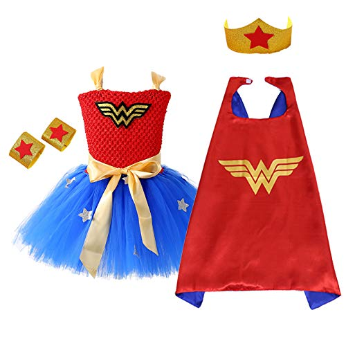 (AQTOPS Super-Girl Costumes for Kids, Halloween Role Play Hero Tutu Dress,)