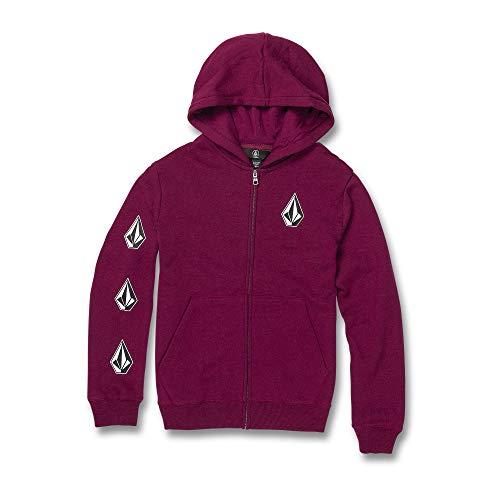Volcom Big Boys Deadly Stones Zip Up Hooded Sweatshirt, Plum, Small (Boys Skateboard Hoodie)