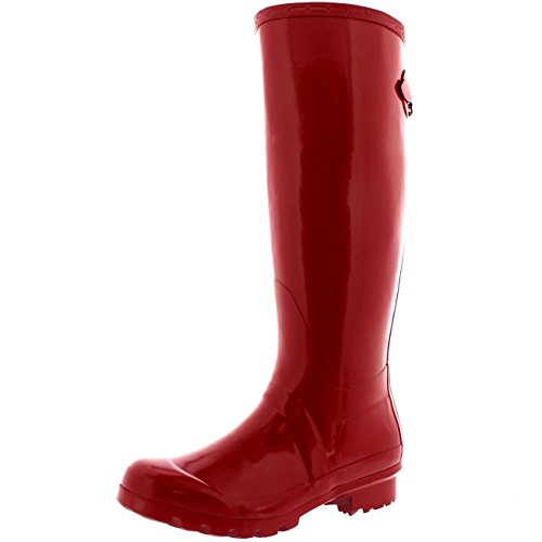 Polar Products Womens Adjustable Back Tall Gloss Winter Snow Rain Wellies Wellington Boots - 9 - DRE40 - Knee Rain High Boots