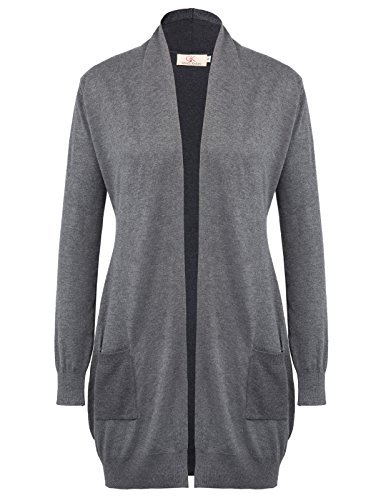 GRACE KARIN レディース ニット カーディガン ボレロ 羽織り ロング丈 シンプル ポケット付き