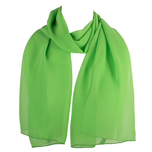 HatToSocks Chiffon Scarf Sheer Wrap Voile Beach Sarong for Women - Lime (Ladies Lime Green)