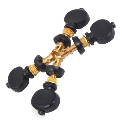 DN 4pcs Gold Ukulele Tuning Pegs PIin Machines Tuners With Black (Tuning Machine Button)
