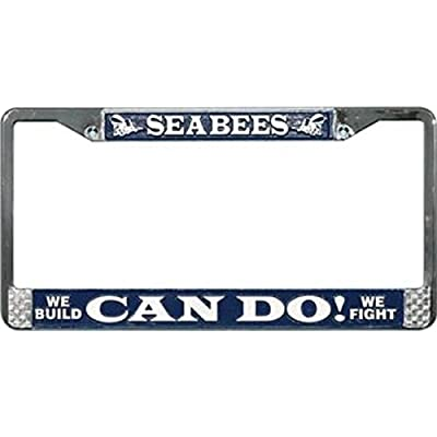 U.S. Navy Seabees Can Do License Plate Frame: Automotive [5Bkhe2004694]