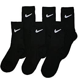 Nike Kids Socks Moisture Wicking Crew 6 Pack Black, 13-3 Shoe/ 6-7 Sock (Toddler/Kids)