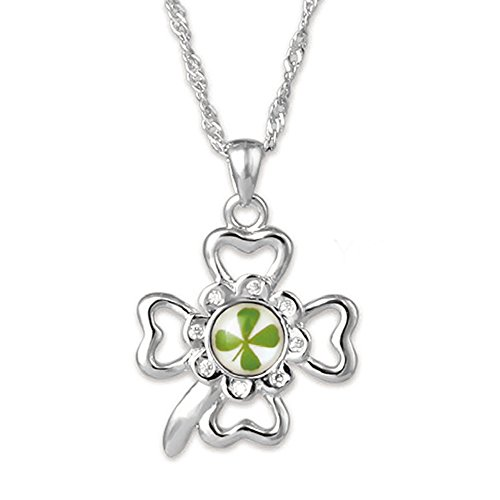 (4ever Good Luck In and Out ! Genuine Four-leaf Lucky Clover Shamrock Crystal Amber Pendant Necklace)