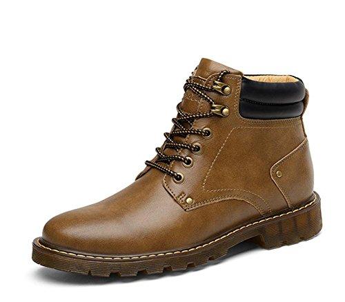 Hombres Estampación Martín Tobillo Botas Al aire libre Cuero Zapatos Ocio Moda Salvaje británico Otoño Invierno Cordón marrón Antideslizante Khaki