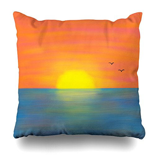 KJONG Pink Orange Sunset Front And Back Zippered Pillow Cover,16X16 inch Square Decorative Throw Pillow Case Fashion Style Cushion Covers(Two Sides Print)