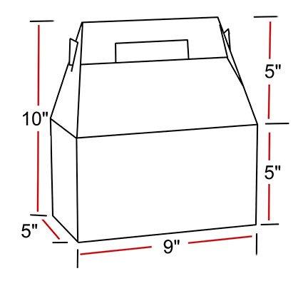 Gable Boxes, X-Large 9x5x10 Size, Set of 6 (Natural Kraft)