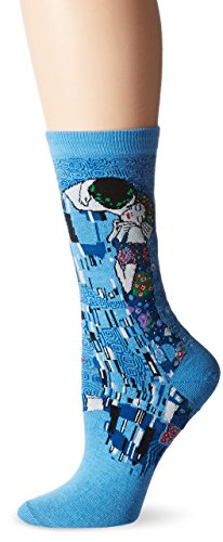 - Hot Sox Women's Artist Series Crew Socks | The The Kiss, Washed Blue, Shoe Size: 4-10