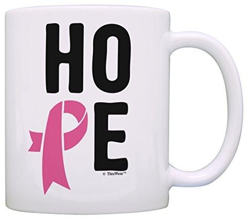 Cancer Hope Mug (Breast Cancer Coffee Mug Hope Spelled with Breast Cancer Pink Ribbon Breast Cancer Survivor Gift Coffee Mug Tea Cup White)