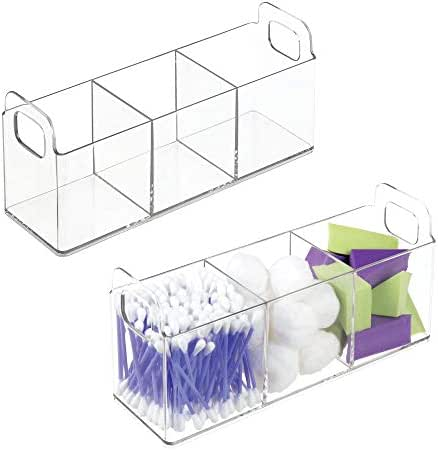 mDesign Cosmetic Vanity Catch-All Organizer to Hold Makeup Products - Pack of 2, Clear