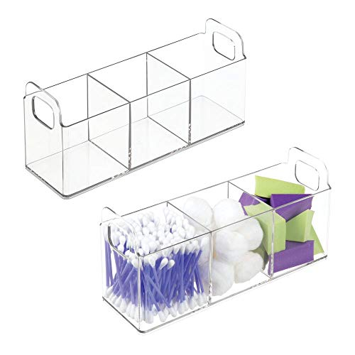 mDesign Cosmetic Vanity Catch-All Organizer to Hold Makeup Products - Pack of 2, - Bin Three Cabinet