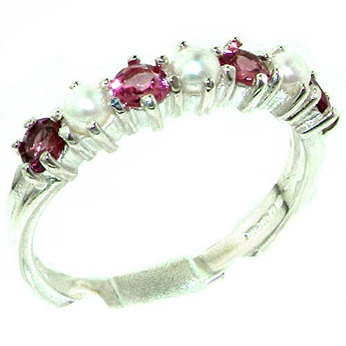 Pearl Tourmaline Ring (18k White Gold Cultured Pearl & Pink Tourmaline Womans Eternity Ring - Sizes 4 to 12 Available)