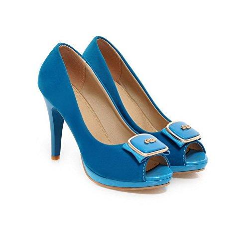 Tacón Azul AllhqFashion de Sintético Sin Mujeres Tachonado aguja Peep cordones Sandalia qpA7tv