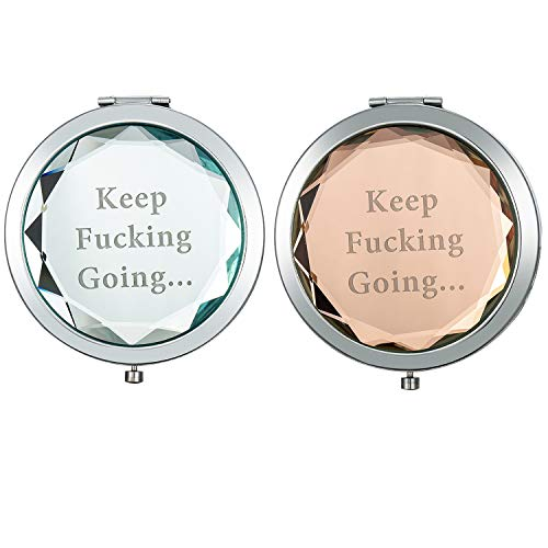 (Inspirational Gift for Women, Compact Mirror Personalized Mantra Quote-Keep Going, 2 pcs Gift Mirror for Graduation, Engraved Compact Mirror Gifts for Girl, Encouragement Birthday Gift for Women)