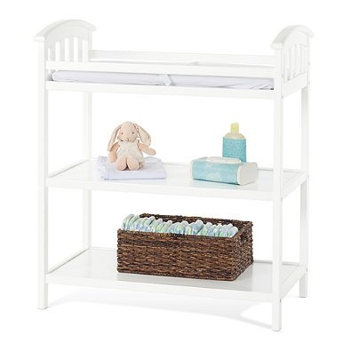 Child Craft Delaney Changing Table Features 2 Shelves for Convenience Storage, Security Strap and Dressing Pad in Matte White