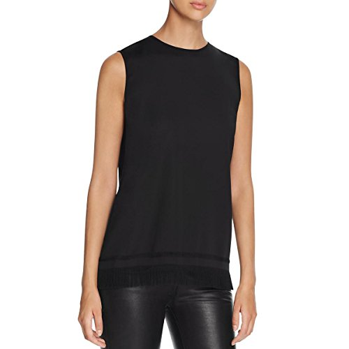DKNY Womens Petites Fringe Sleeveless Tunic Top Black XP by DKNY